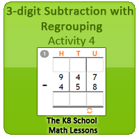 Mathematics 3-digit Subtraction with Regrouping – Activity 4