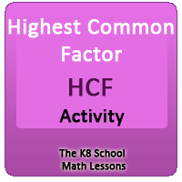Mathematics Highest Common Factor – Activity
