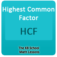 Highest Common Factor – HCF Highest Common Factor – HCF