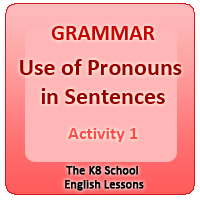 Use of Pronouns in Sentences – Activity 1 Use of Pronouns in Sentences – Activity 1