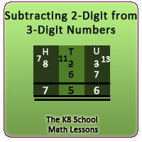Mathematics 2-digit from 3-digit Subtraction with borrowing method