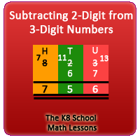 Subtracting 2-digit from 3-digit numbers with Regrouping