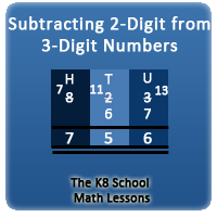 Subtracting 2-digit from 3-digit with regrouping