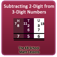 Subtracting 2-digit numbers from 3-digit numbers borrowing method