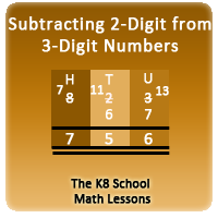 Subtracting 2-digit numbers with borrowing method