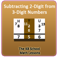 Subtraction 2-digit numbers from 3-digit numbers borrowing method