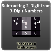 Mathematics Subtraction 3-digit take away 2-digit with Regrouping
