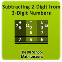 Mathematics Subtraction 3-digit take away 2-digit with borrowing method
