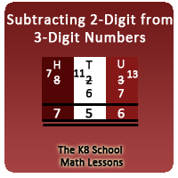 Mixed Numbers Quiz 1 3-Digit minus 2-Digit Subtraction with Regrouping