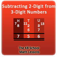 Subtracting 2-digit from 3-digit with borrowing method
