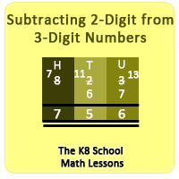 Take away 2-digit from 3-digit numbers with Regrouping