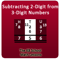 Take away 2-digit from 3-digit numbers with borrowing method
