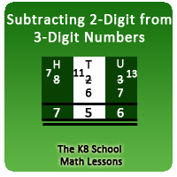 Mathematics Take away 2-digit from 3-digit with Regrouping