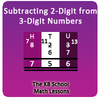Mathematics Take away 2-digit from 3-digit with borrowing method