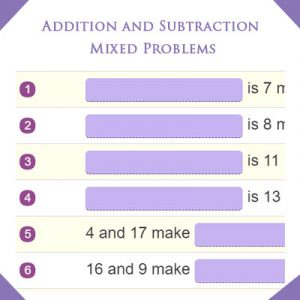 Ordinal Numbers Quiz 4 Addition and Subtraction Mixed Problems