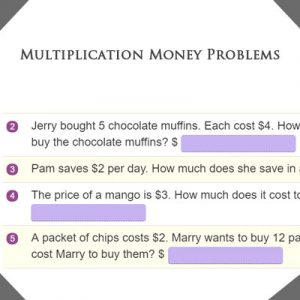 Multiplication Money Problems Multiplication Money Problems