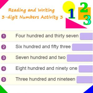 Key Stage One Reading and Writing 3-digit Numbers Activity 3
