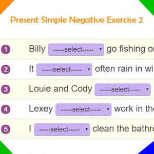 Present Simple Negative Exercise 2 Present Simple Negative Exercise 2