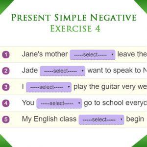 Present Simple Negative Exercise 4 Present Simple Negative Exercise 4