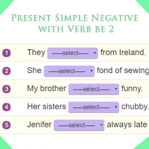 Present Simple Negative with Verb be 2 Present Simple Negative with Verb be 2