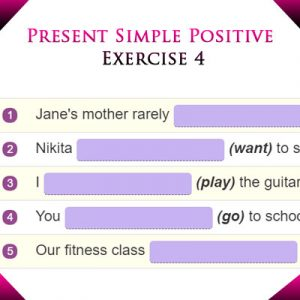 Present Simple Positive Exercise 4 Present Simple Positive Exercise 4