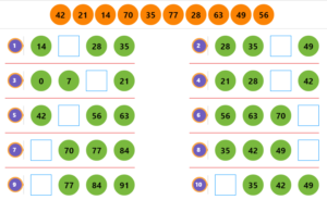 Mixed Numbers Quiz 1 Counting by 7s