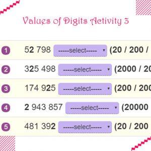 Values of Digits Activity 3 Values of Digits Activity 3