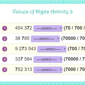 Values of Digits Activity 9 Values of Digits Activity 9