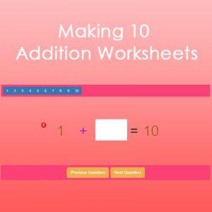 Making 10 Addition Worksheets Making 10 Addition Worksheets