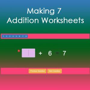 Making 7 Addition Worksheets Making 7 Addition Worksheets