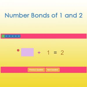 Number Bonds of 1 and 2 Number Bonds of 1 and 2
