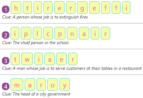Singular and Plural in Sentences 1 Workers of the Community – Spellings by Rearranging Jumbled Letters – 1