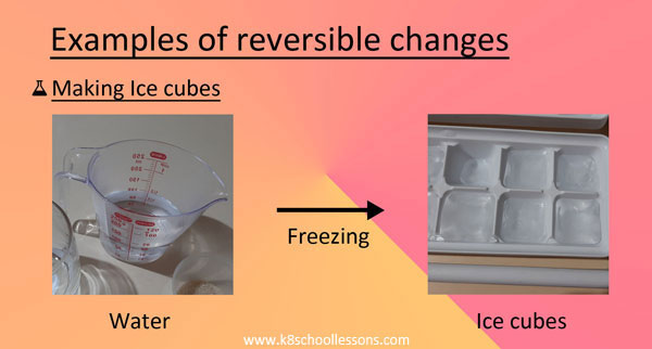 Reversible Changes Examples Making ice cubes