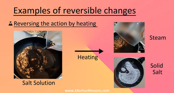 Reversible Changes Examples Heating salt solution