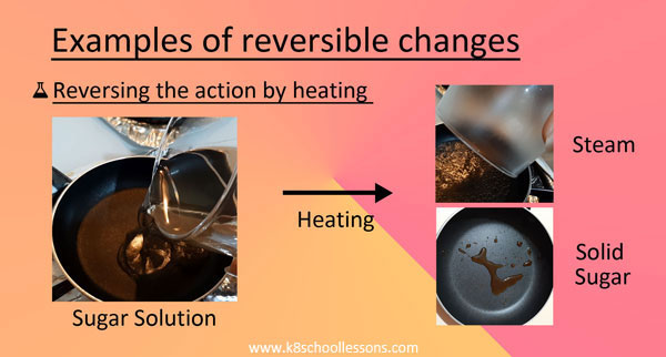Reversible Changes Examples Heating sugar solution