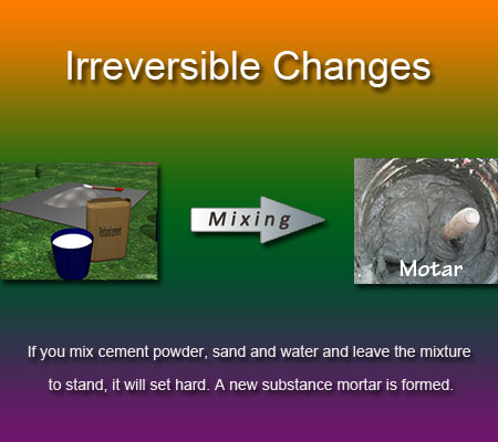 irreversible changes or chemical changes examples