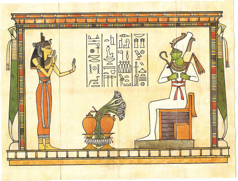 Egyptian hieroglyphics written on papyrus paper