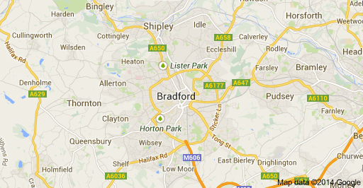 find Bradford, a city which you can learn about how a village grows, in the follwing map provided