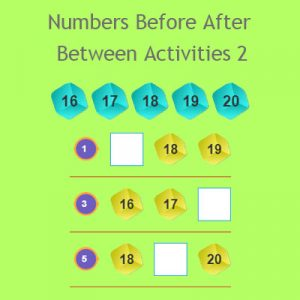 Numbers Before After Between Activities 2 Numbers Before After Between Activities 2