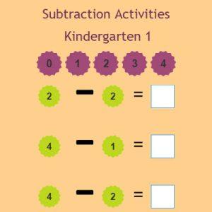 Subtraction Activities Kindergarten 1