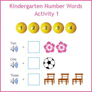 Kindergarten Number Words Activity 1 Kindergarten Number Words Activity 1