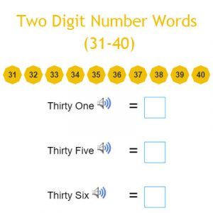Irregular Plural Nouns Exercises 1 Two Digit Number Words (31-40)