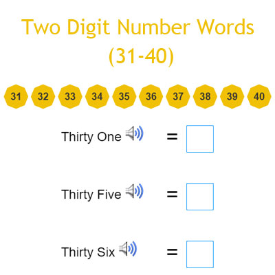 Two Digit Number Words (31-40)