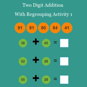 Two Digit Addition With Regrouping Activity 1 Two Digit Addition With Regrouping Activity 1