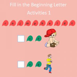 fill in the beginning letter activities