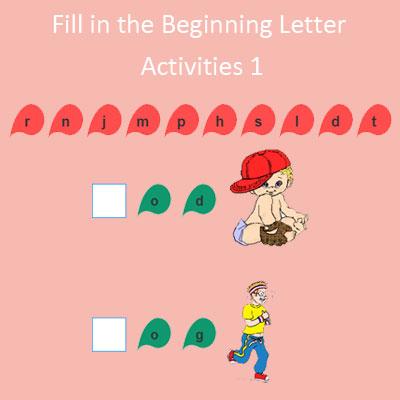 Fill in the Beginning Letter Activities 1 Fill in the Beginning Letter Activities 1