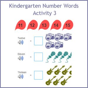 Kindergarten Number Words Activity 3