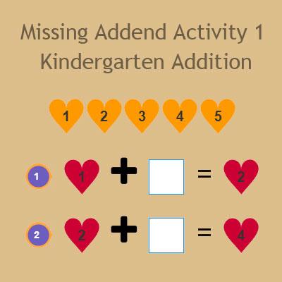 Missing Addend Activity 1 - Kindergarten Addition