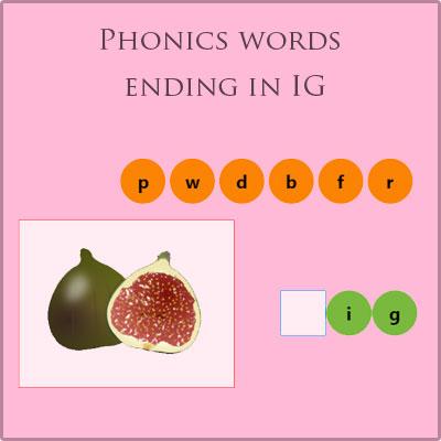 Phonics words ending in IG Phonics words ending in IG
