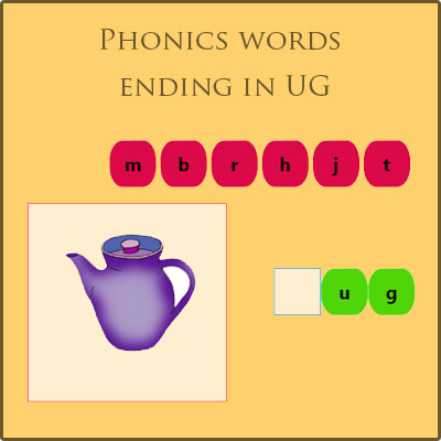 Phonics words ending in UG